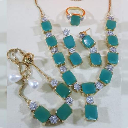 ZIRCON INDIAN COMBO SET WITH ADJUSTABLE RING (SEA BLUE)