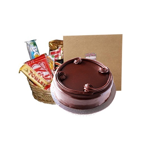 FOR THE LOVE OF CHOCOLATE (BASKET FULL OF CHOCOLATE WITH CHOCOLATE CAKE)