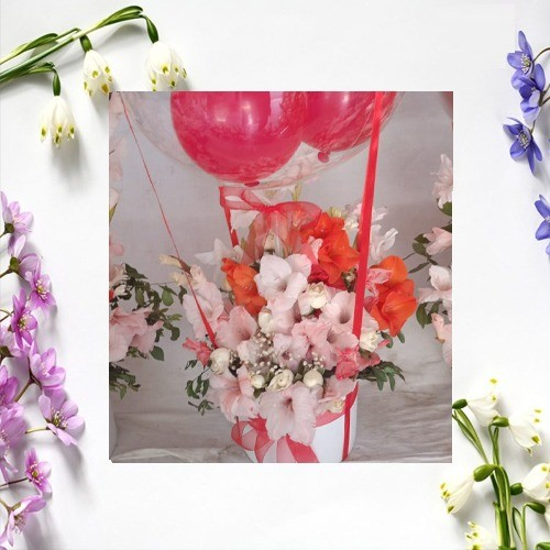 FOR YOU ONLY FLOWER BASKET WITH BALOONS AND TEDDY