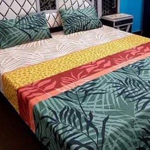PURE COTTON BEDSHEET (FULL PRINTED) - LEAVES