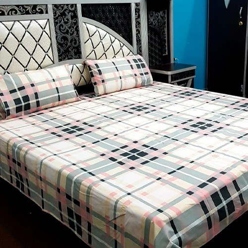 PURE COTTON BEDSHEET (FULL PRINTED) - SQUARES
