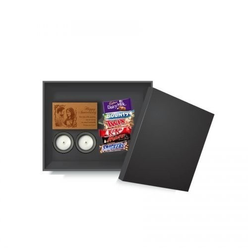 SPECIAL GIFT FOR HIM AND HER WITH PAIR OF SCENTED CANDLES, WOODEN BEST WISHES FRAME AND CHOCOLATES