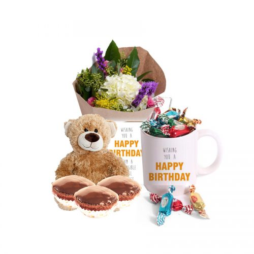 WISHING YOU BIRTHDAY WITH TEDDY, BOUQUET AND MUG FULL OF CANDIES