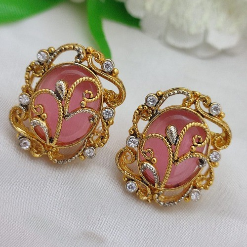 EGYPTIAN EARRINGS TWO TONE POLISH ROUND (PINK)