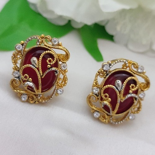 EGYPTIAN EARRINGS TWO TONE POLISH ROUND (RED)