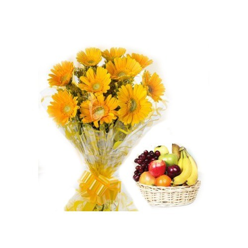 GET WELL SOON BOUQUET WITH FRUIT BASKET
