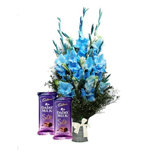 LOVE OF BLUE WITH GLAD BOUQUET AND DAIRY MILK