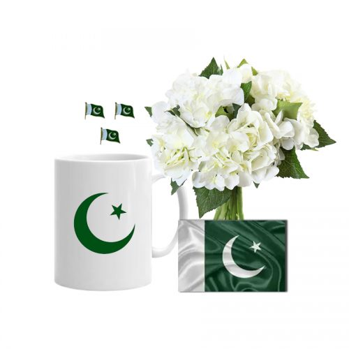 PAKISTAN GREEN AND WHITE BOUQUET WITH MUG AND FLAG
