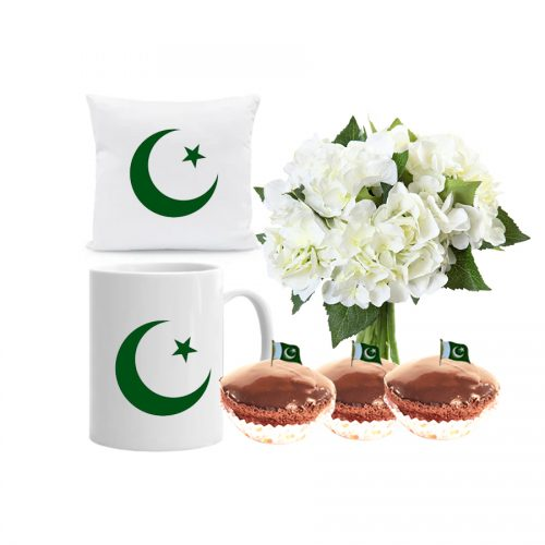 PAKISTAN SPECIAL MUG CUSHION WITH BOUQUET AND CUPCAKES WITH FLAG TOP