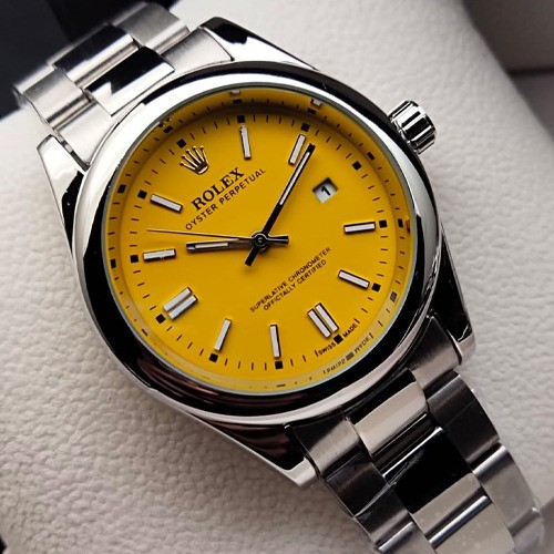 ROLEX OYSTER PERPETUAL, DATE JUST, STAINLESS STEEL CHAIN AND BACK