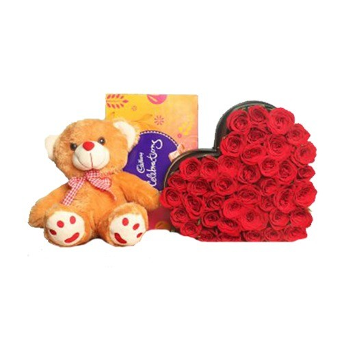 SKIP A BEAT WITH ROSE HEART BASKET, TEDDY COMBO AND BOX OF CHOCOLATES