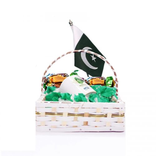 SPECIAL PAKISTAN GIFT PACK WITH CUSTOMIZED MUG, TABLE FLAG AND CHOCOLATES IN BASKET