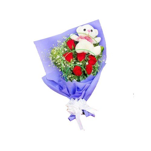 TEDDY ROSE BOUQUET COMBO