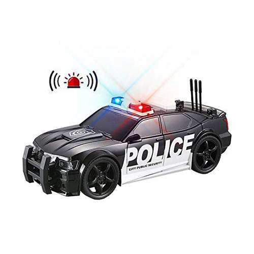 STRONG BLACK AND WHITE POLICE CAR TOY FOR KIDS